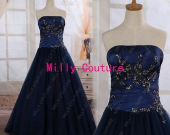 Navy blue long prom dress, prom dresses, Homecoming Dress, with delicate beading, prom gowns, formal dress, ball gown
