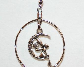 Beautiful Silver tone Moon Fairy Hoop Earrings