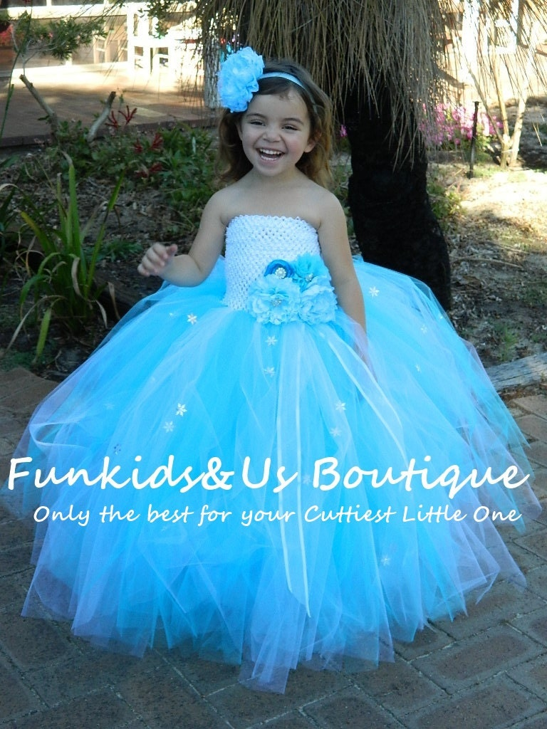 Blue and white flower girl dress junior bridesmaids zoom ombrellifo Choice Image