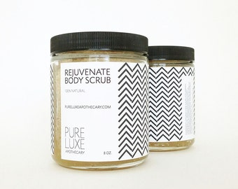 Rejuvenate Body Scrub, Natural Skincare, Organic Sugar, Softening, Hydrating, with Therapeutic Essential Oils