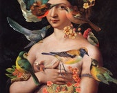 Vintage Portrait Bird Collage Altered Art Illustration Flowers Female Nude