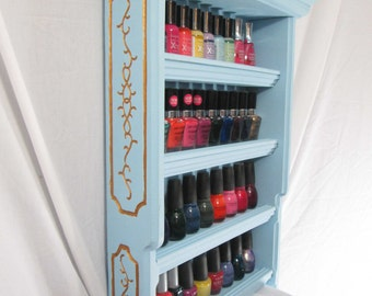 Engraved Nail Polish Rack, Up to 40 Bottles, ~ Painted (Gold Leaf)
