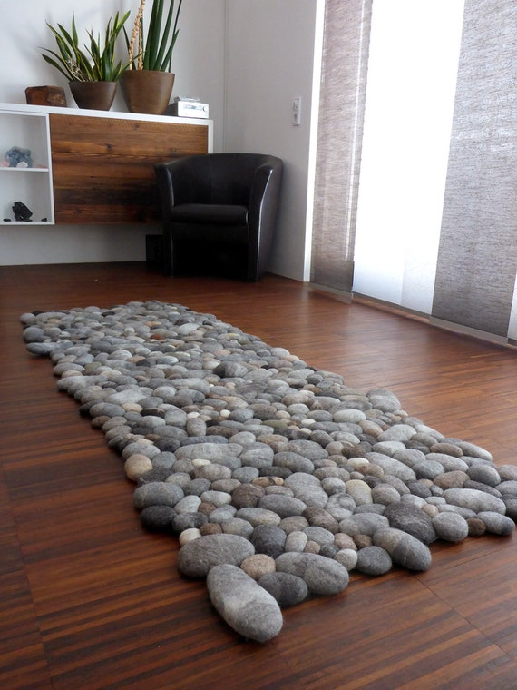 felt carpet supersoft pebbles - felt stone carpet, wool from sheep & lama