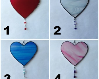 Stained Glass Heart with Bead Dangle Suncatcher