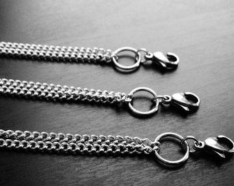 24 Inch Silver Stainless Steel Floating Locket Chain with Locket Ring-Gift Idea