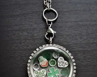 St. Patrick's Day Floating Locket Necklace-Includes Locket, Charms, and Chain-Gift Idea