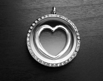 Heart Window Plate for Floating Lockets-Fits Large Floating Lockets-Gift Idea for Women
