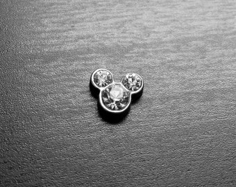Clear Crystal Mickey Floating Charm for Floating Lockets-April Birthstone-Gift Idea