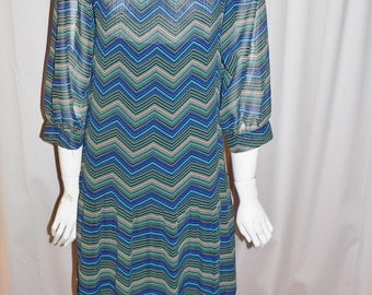 1970's 80's Does 20's  Dress with Dropped Waist  Chevron  Print with Slip