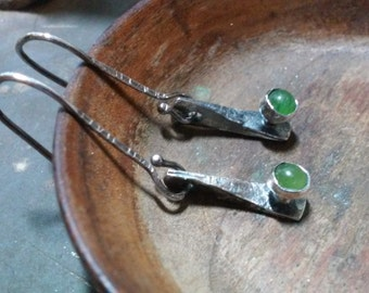 Tiny Hand Forged Jade Earrings