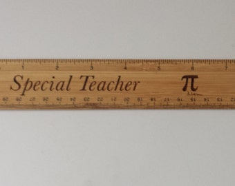 "Laser Engraved 12"" Bamboo Ruler"
