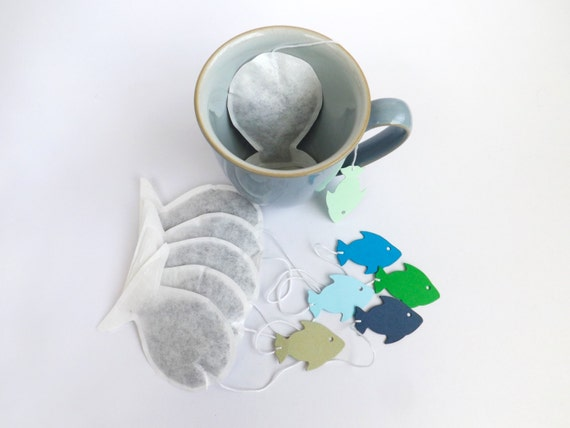 Fish shaped tea bags 6 novelty tea bags fishing by for Fish tea bags