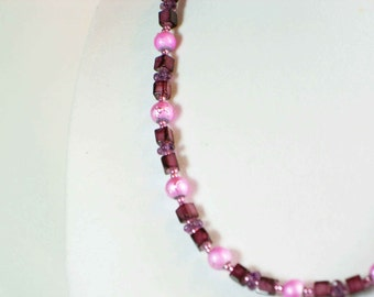 Beautiful Pink & Purple Beaded Necklace