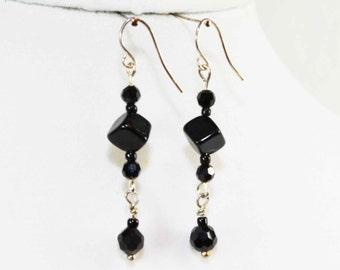 Sterling Silver & Black Beaded Dangle Earrings