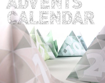 Printable advent calendar DIY christmas calendar low poly design with matching wrapping paper papercraft party favors