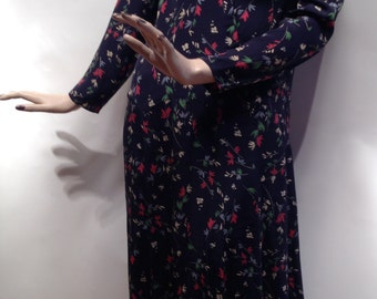 1930's Rayon FLORAL DRESS / Navy Scalloped Drop Waist / Size Small to Medium