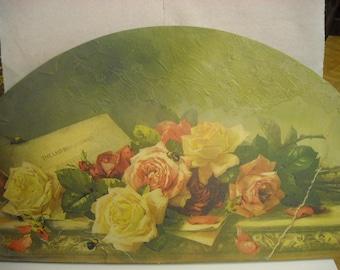Faux fresco-Lintel on wood drawing roses-SINGLE PIECE free shipping. Sale