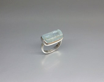Aquamarine ring with bright, milky and natural Aquamarine set in Sterling silver - gift idea
