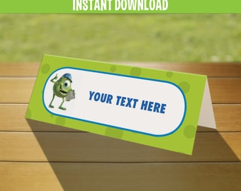 Disney Monsters Inc. Birthday Tent Cards / Place Cards - Instant Download and Edit with Adobe Reader