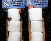 Olaf from frozen party favor ~ birthday ~ Marshmallows ~ pretzels ~ chocolate chips.