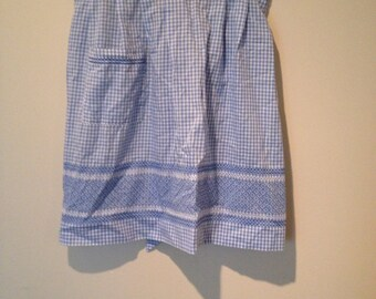 Vintage Gingham Apron. Baby Blue and White Checkered Waist Apron.