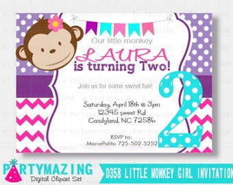 Little Monkey Girl Invitation, Mod Monkey Printable invitation, Girl Birthday Invitation D358