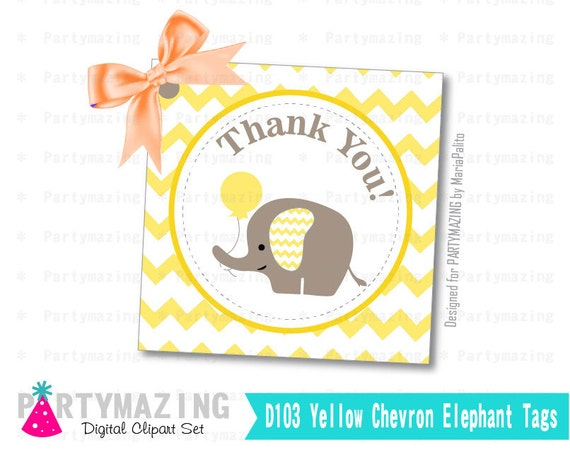 Printable Thank You Tags, Elephant Tags, Tags, Stickers, Gift Tags, Cupcake Toppers, Yellow Elephant Baby Shower Collection D103