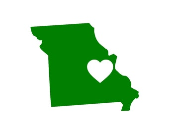 Missouri Love Custom Die Cut Vinyl Decal Sticker - Choose your Color and Size