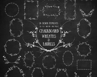 Wreaths & Laurels Digital Clip Art - chalkboard wildflower wreaths laurels png files for scrapbooking, invitations, photography templates
