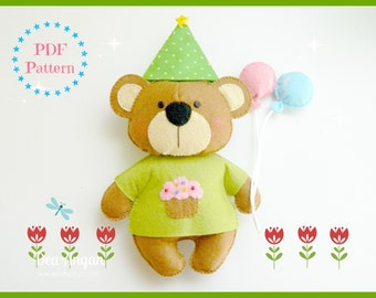 PDF Pattern: Birthday Bear. Felt Pattern. Plush Pattern. Softies Pattern - Instant Download