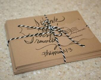 "Scripture Set: 8 hand-lettered brown kraft Scripture notecards with envelopes (4.25"" x 5.5"")"