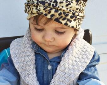 Vintage Wash Cheetah turban headband