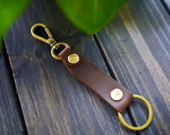 Personalized Leather Key Chain , Engraved Leather Key Fob , Custom Leather Key Holder , Mens Leather Keyring , Anniversary & Wedding Gift