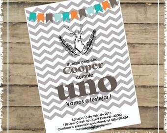 Invitaciones Cumpleaños Pequeño Cazador 1 - Chevron Gris - Para Imprimir en casa