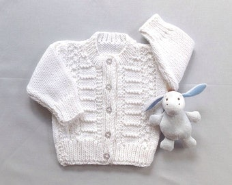 White baby cardigan - 6 to 12 months - Knitted Infant sweater - Baby shower gift - Baby white sweater - Baptism sweater