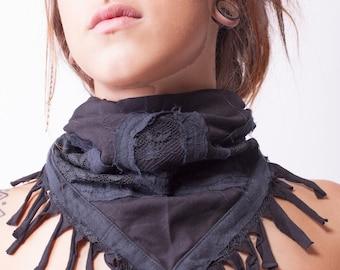 LIBERTIN Fringe lace Scarf Shawl: black/ freespirit /women / Goa Hippie party / Tribal Gypsy festival / burning man / Midburn