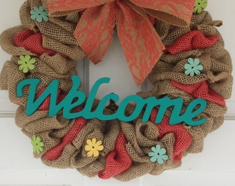 Welcome Wreath, Burlap Wreath,Spring Wreath, Summer Wreath
