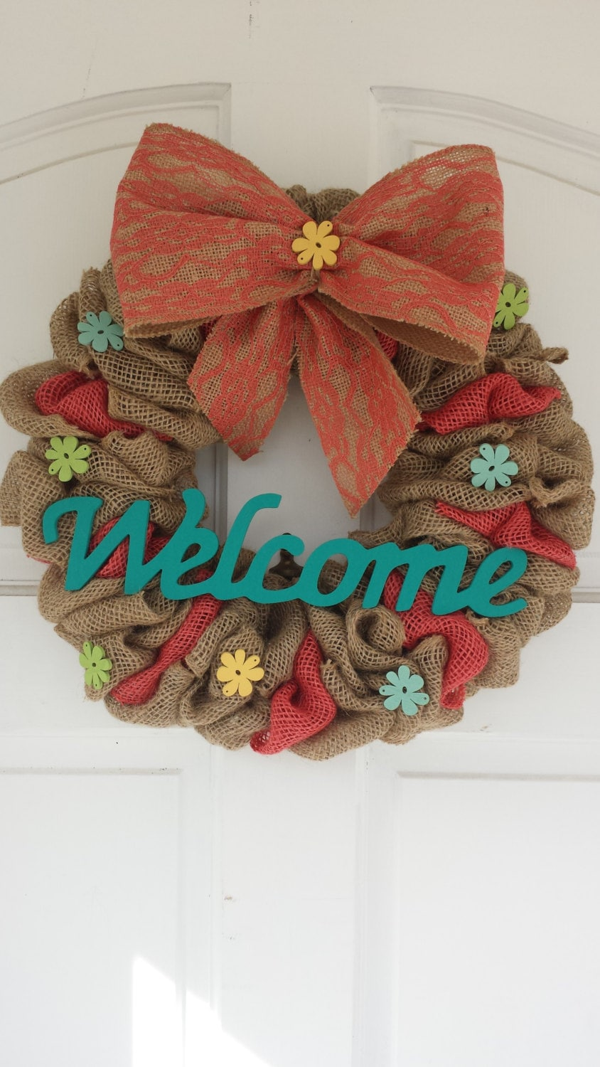 Welcome Wreath Burlap Wreathspring Wreath Summer Wreath