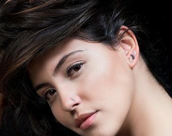 Tiny earrings , tiny silver earrings , moon earrings , small silver earrings , small stud earrings, tiny  stud earrings, tiny moon earrings,