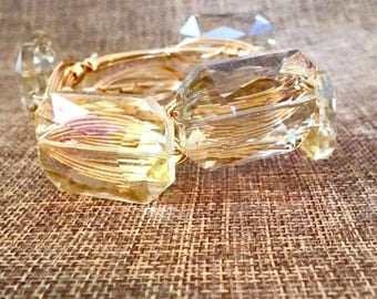Champagne Large Crystal Stone Wire Wrapped Bangle