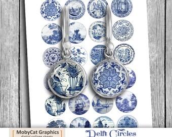 Delft Circles Digital Collage Sheet  20mm 18mm 16mm 14mm 12mm Printable Images Instant Download