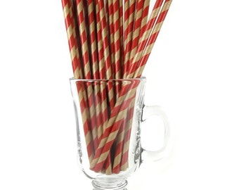 25 Kraft Red Stripe Paper Straws | Kraft Paper Straws | Red Party Straws | Kraft Drinking Straws | Stripe Paper Straw | Kraft