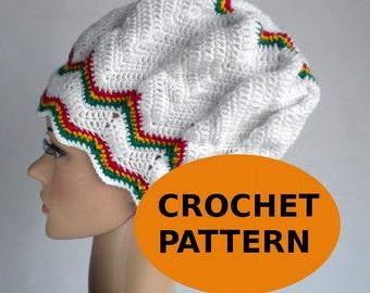 Dreadlock hat crochet chevron pattern zigzag, slouchy chevron beanie, rasta hat, dreadlock crown, reggae clothing