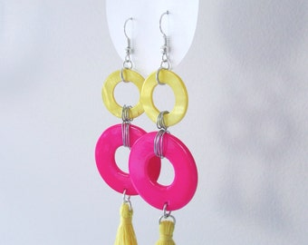 Pink and Yellow Hoop Earrings with Tassels