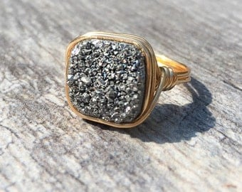 Silver Druzy Cushion Cut Ring, Druzy Ring, Silver Druzy Wire Wrapped Jewelry Handmade Ring