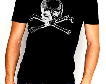 Skull And Crossbones Vintage Art Illustrated Men's Cotton T-Shirt *Various Colours*