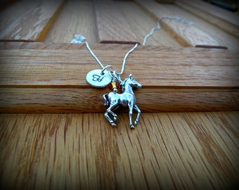 Sterling silver pony necklace, horse necklace, western necklace