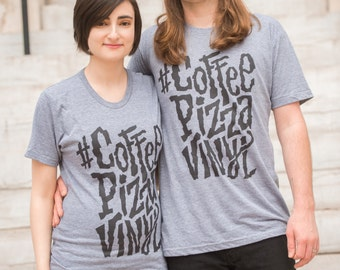 Coffee, Pizza, Vinyl Printed T-Shirt