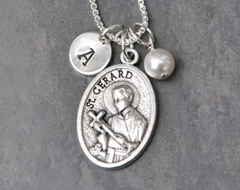 Pregnancy Motherhood Childbirth Fertility - Saint St Gerard Necklace - Custom Initial Stamp - Swarovski Crystal Birthstone or Pearl