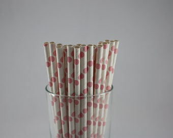 "25 - Pink and White Polka Dot Paper Straws - 7.75"" - light pink - cotton candy - baby shower - birthday party - polka dots - baby girl"